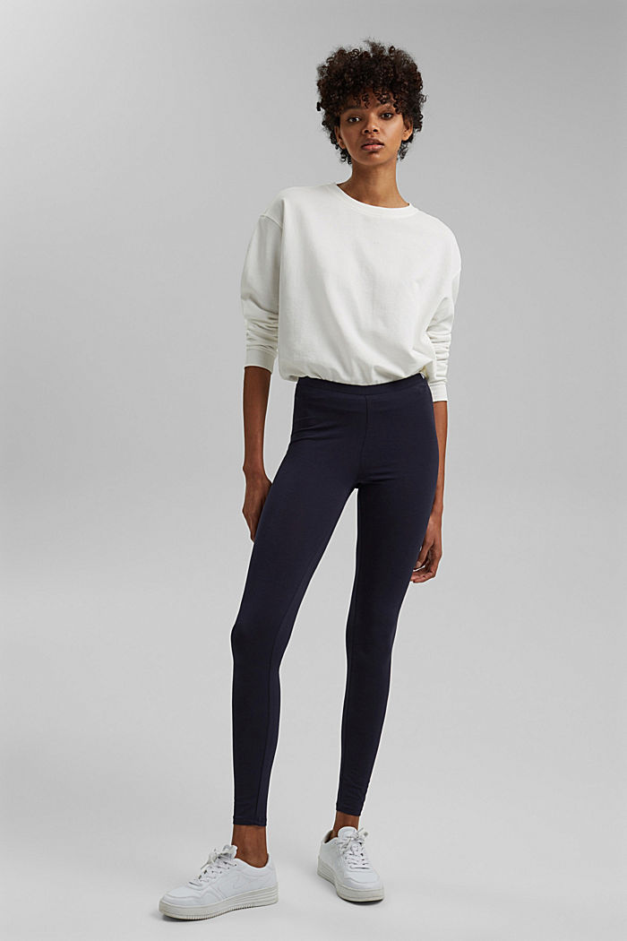 Basic Leggings aus Bio-Baumwolle/ Stretch, NAVY, detail image number 1