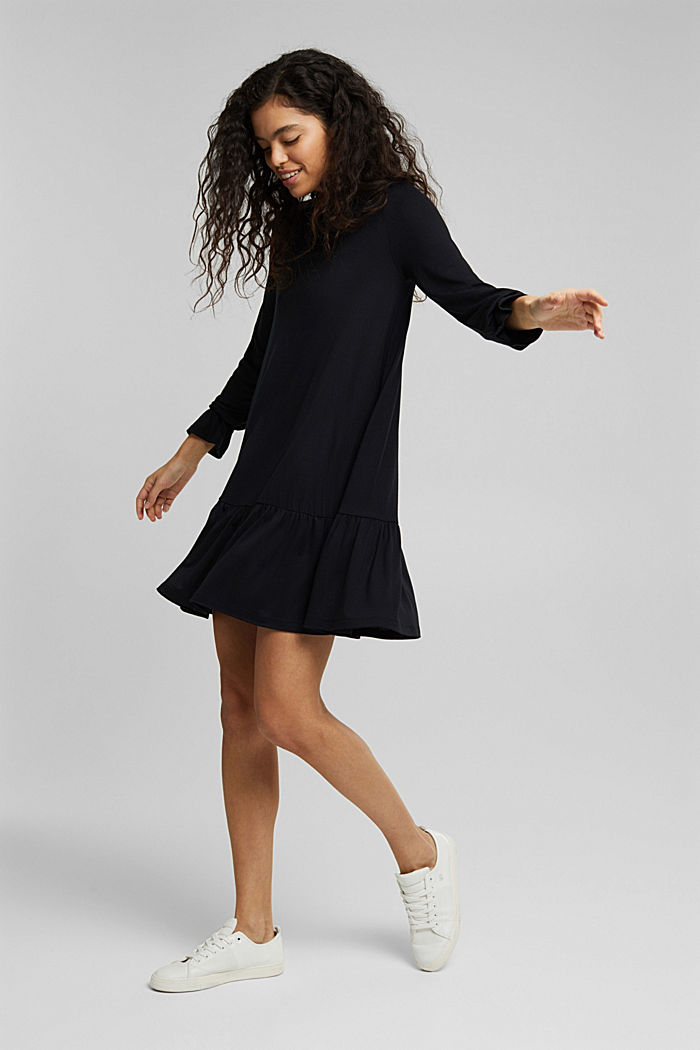 Jersey dress with LENZING™ ECOVERO™, BLACK, detail image number 7