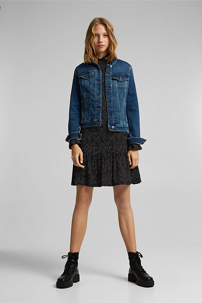 Jersey-Kleid mit LENZING™ ECOVERO™, BLACK / WHITE, detail image number 1