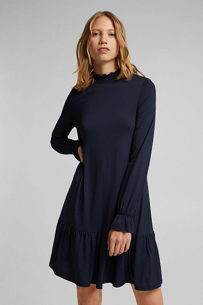 Jerseyklänning med LENZING™ ECOVERO™, NAVY, detail image number 5