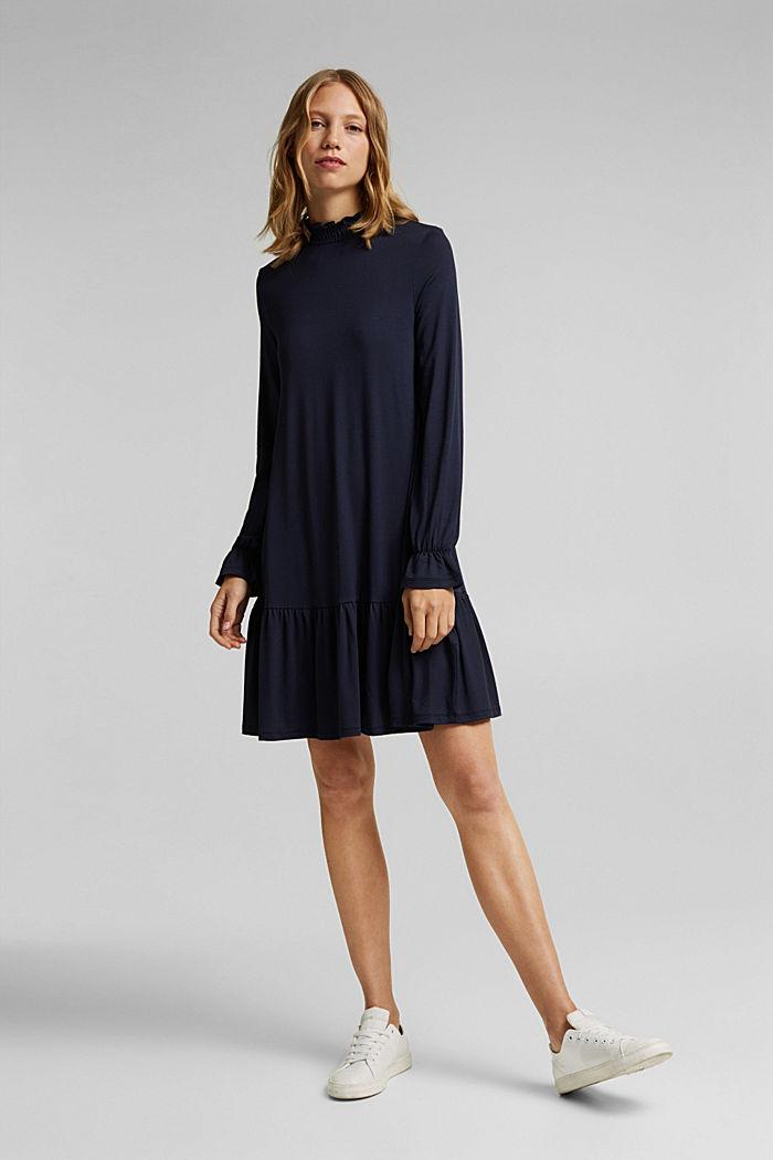 Jerseyklänning med LENZING™ ECOVERO™, NAVY, detail image number 1