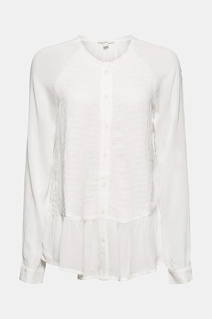 Smocked peplum blouse, LENZING™ ECOVERO™, OFF WHITE, overview
