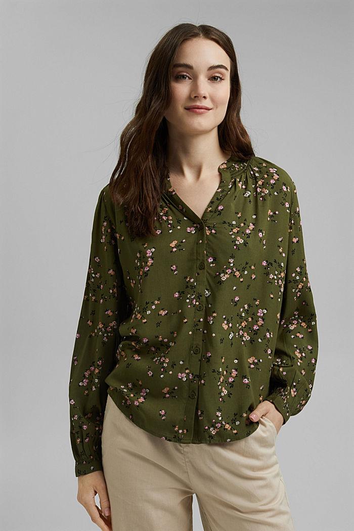 Bluse aus LENZING™ ECOVERO™, KHAKI GREEN, detail image number 0