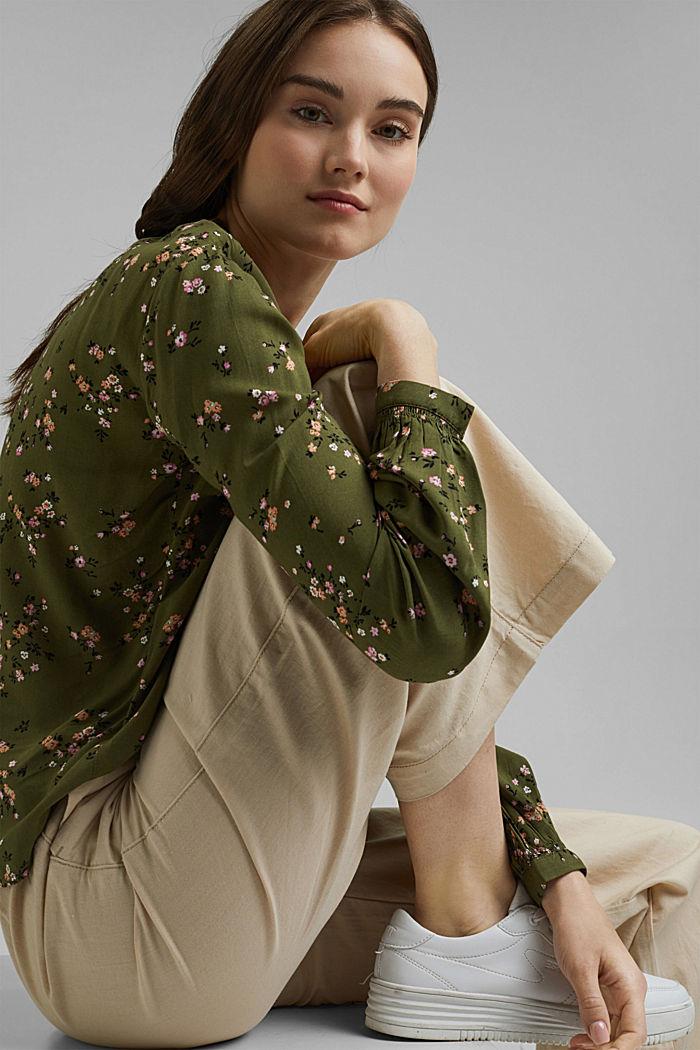 Bluse aus LENZING™ ECOVERO™, KHAKI GREEN, detail image number 5