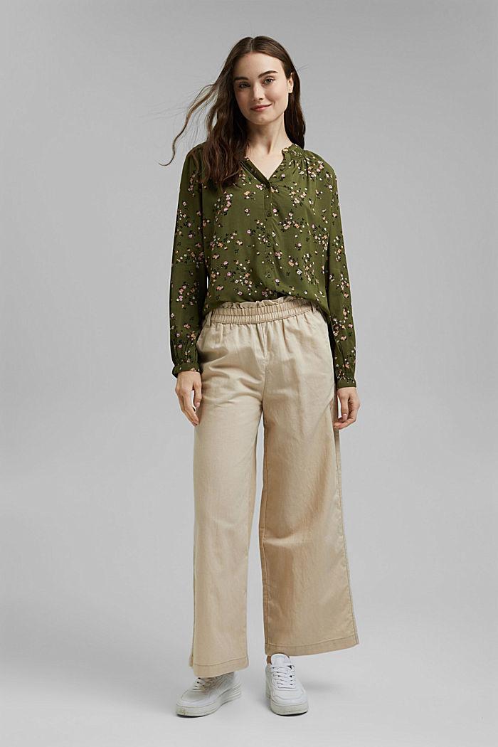 Bluse aus LENZING™ ECOVERO™, KHAKI GREEN, detail image number 1