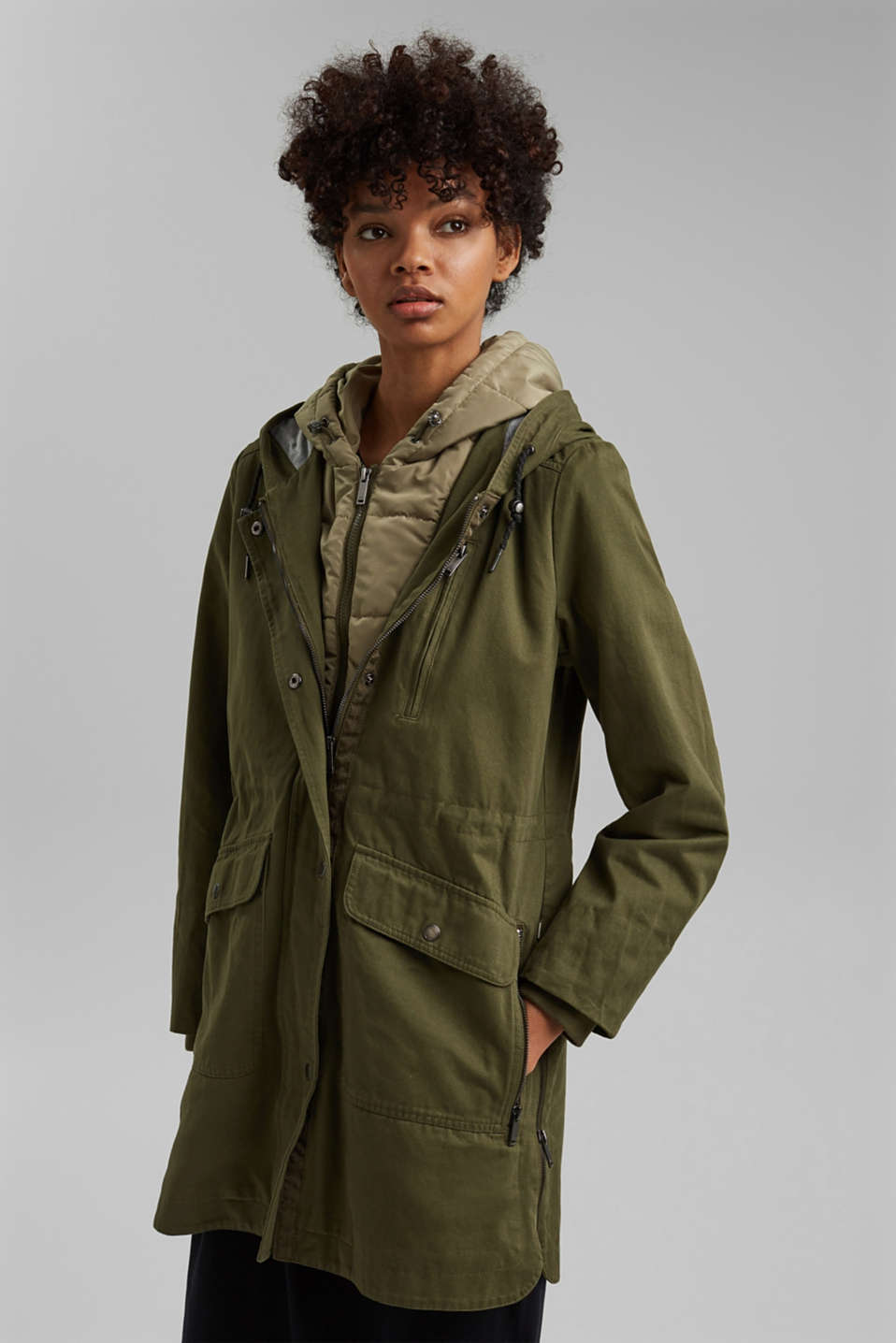 edc - Recycled: parka with organic cotton