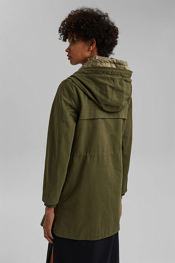 Recycled: parka with organic cotton, KHAKI GREEN, detail image number 3