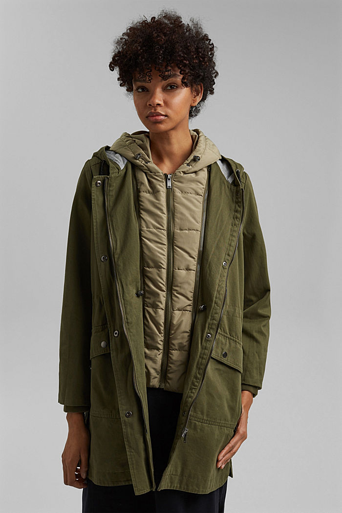 Recycled: parka with organic cotton, KHAKI GREEN, detail image number 5