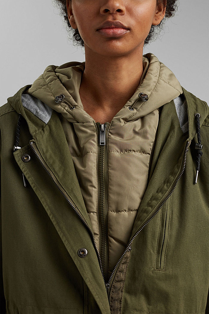Recycled: parka with organic cotton, KHAKI GREEN, detail image number 2