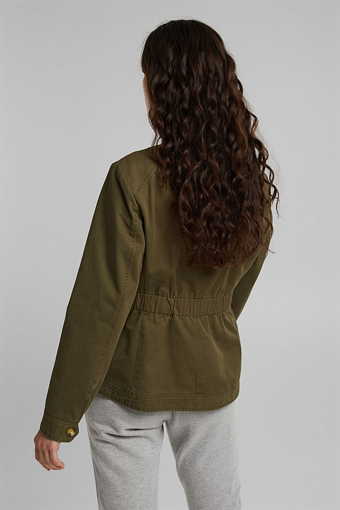 Utility style bomber jacket with organic cotton, KHAKI GREEN, detail image number 3