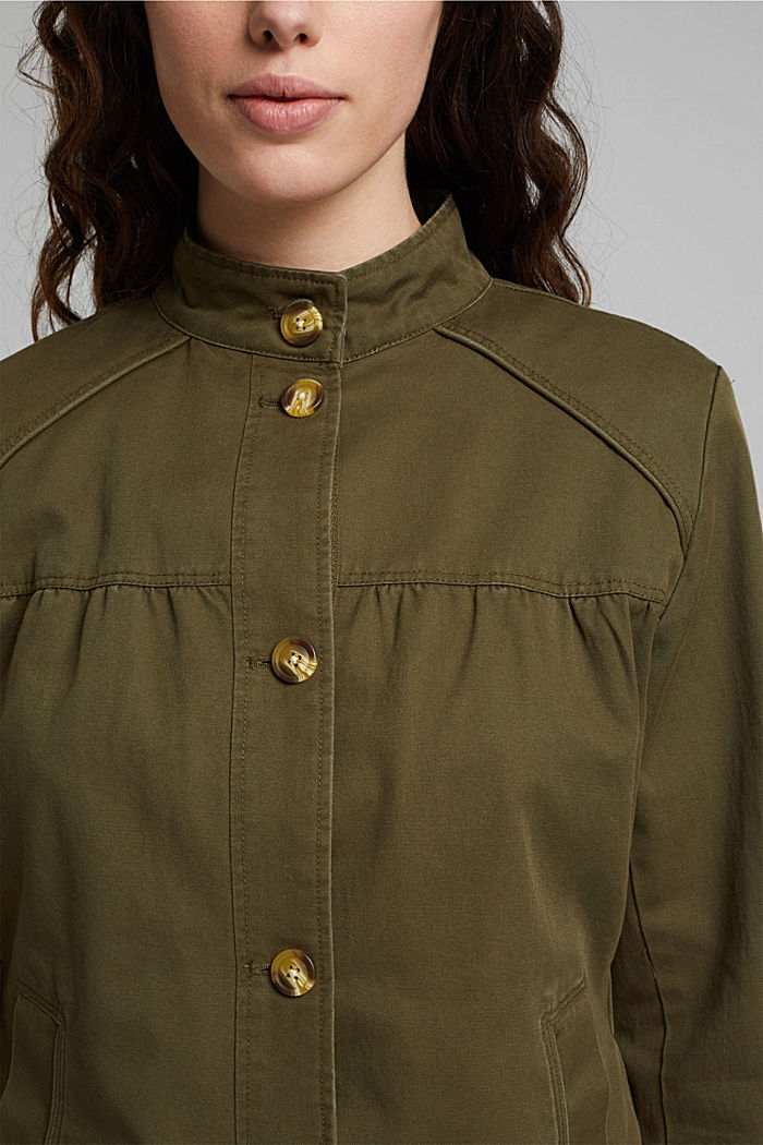 Utility style bomber jacket with organic cotton, KHAKI GREEN, detail image number 2