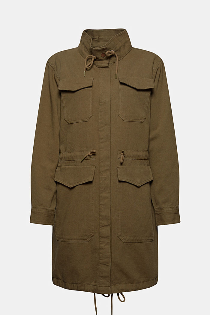Leichter Parka aus 100% Organic Cotton, KHAKI GREEN, overview