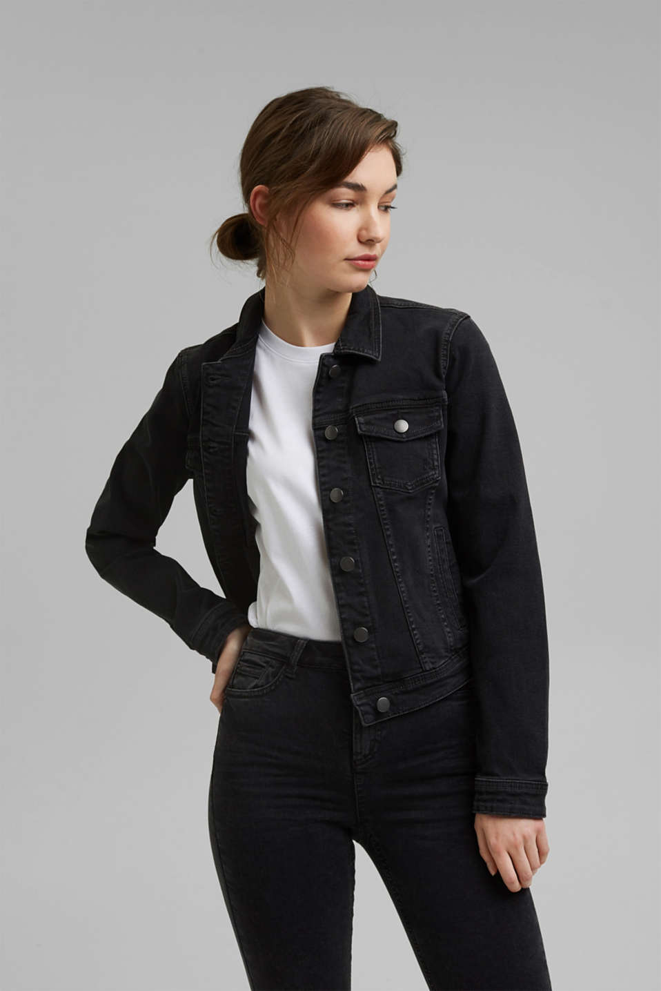 edc - Denim jacket in a vintage look, in organic cotton
