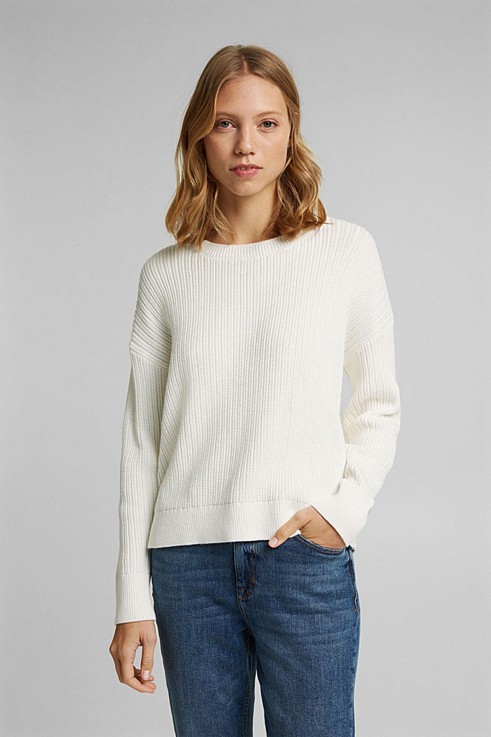 Pullover aus 100% Organic Cotton, OFF WHITE, detail image number 0