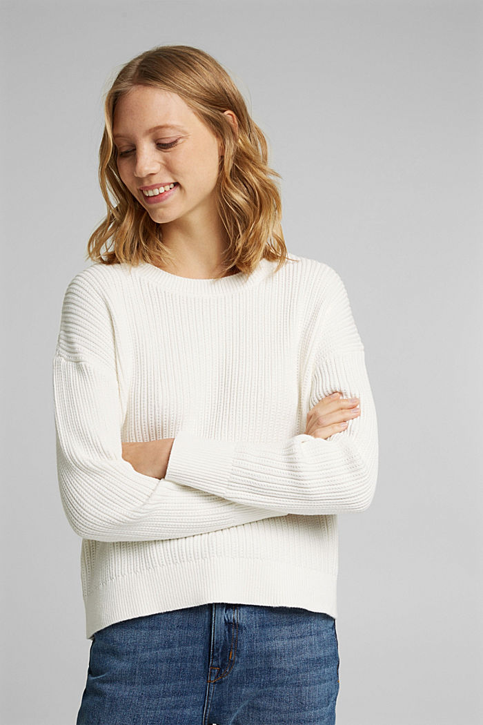 Pullover aus 100% Organic Cotton, OFF WHITE, overview