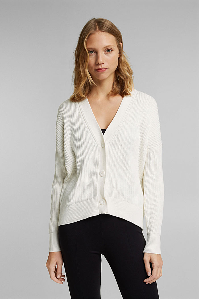 Cardigan made of 100% organic cotton, OFF WHITE, detail image number 0