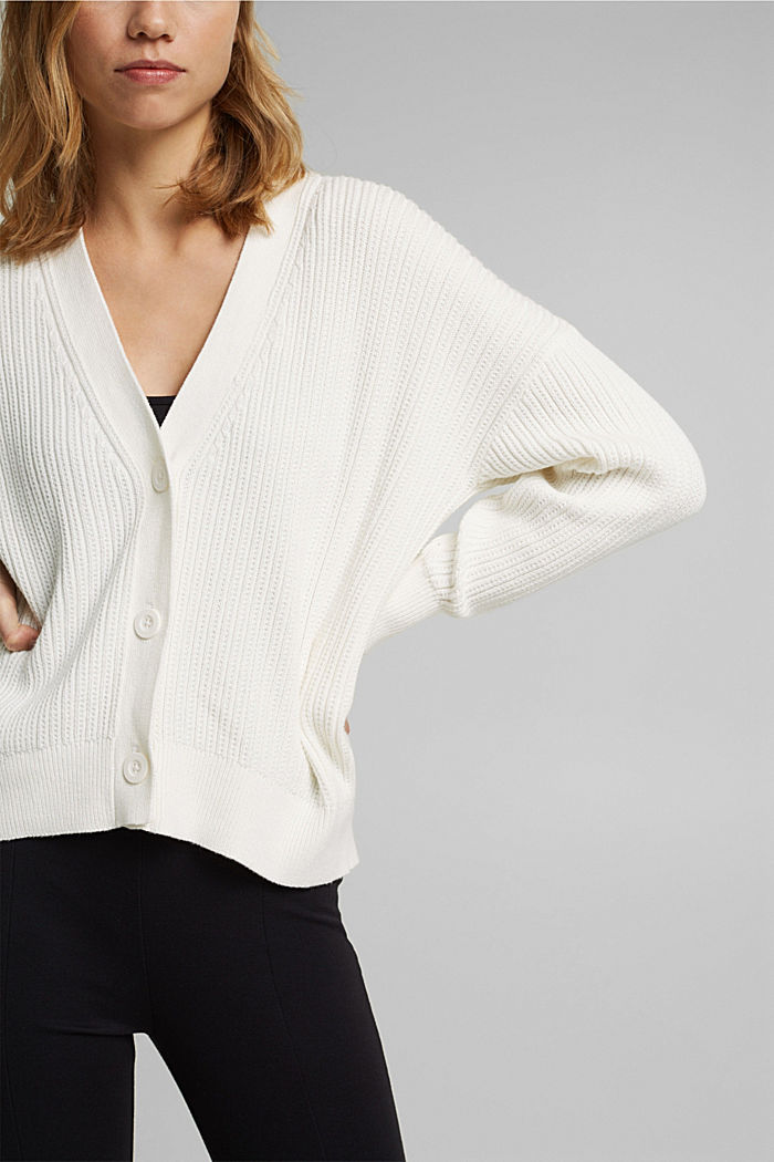 Cardigan made of 100% organic cotton, OFF WHITE, detail image number 2