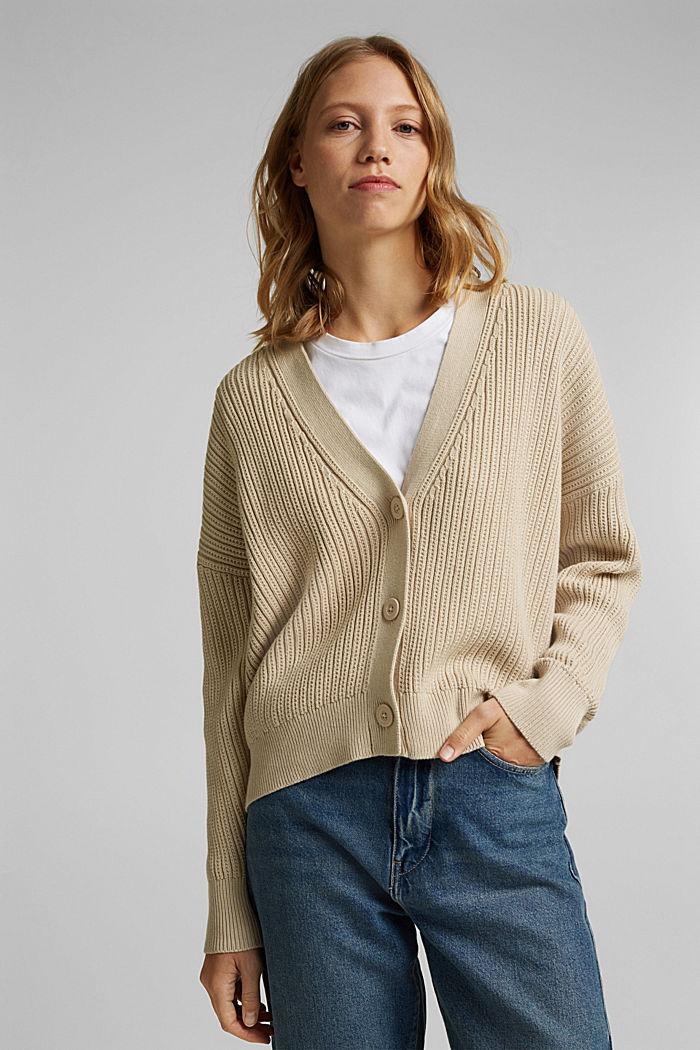 Cardigan aus 100% Organic Cotton, BEIGE, detail image number 0