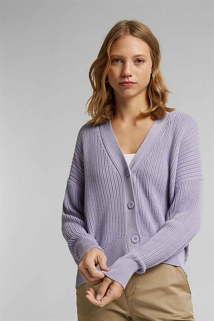 Cardigan made of 100% organic cotton, LILAC, detail image number 0