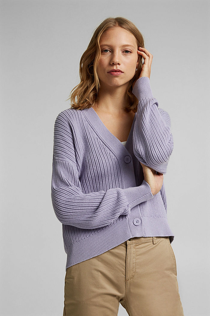 Cardigan made of 100% organic cotton, LILAC, detail image number 5