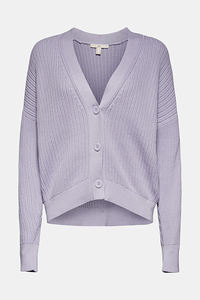 Cardigan made of 100% organic cotton, LILAC, overview