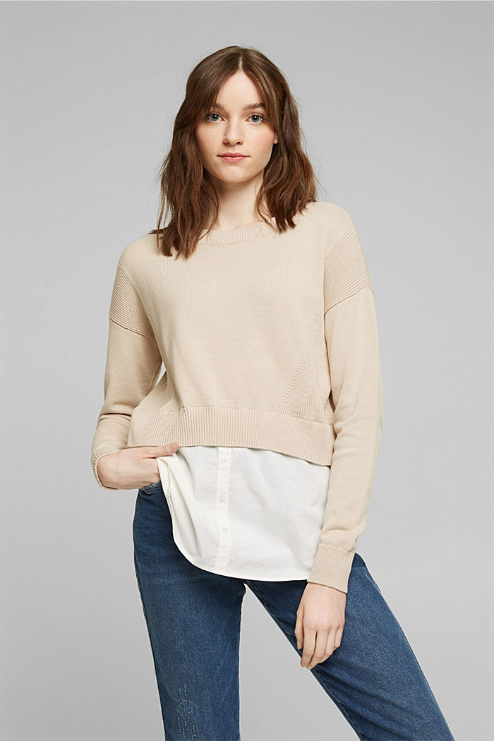 Layered jumper with organic cotton, BEIGE, detail image number 0