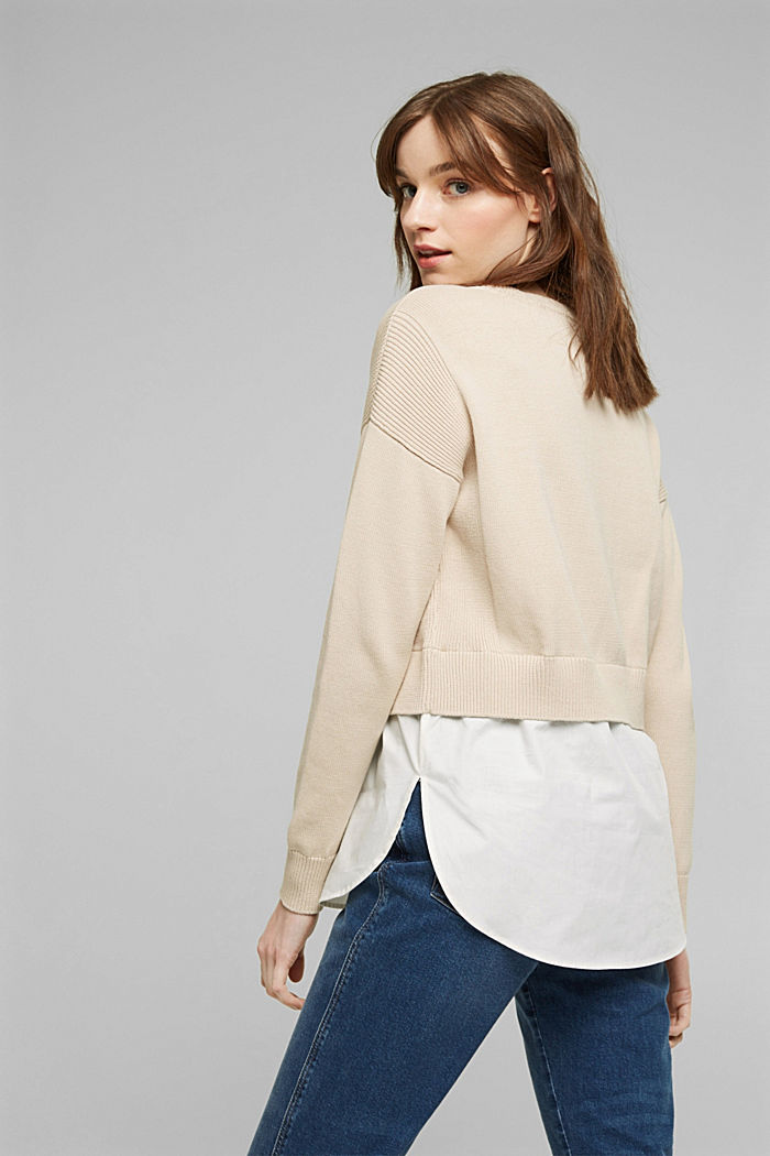 Layered jumper with organic cotton, BEIGE, detail image number 3
