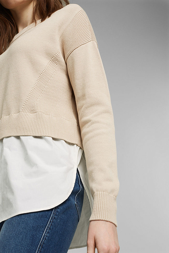 Layered jumper with organic cotton, BEIGE, detail image number 2