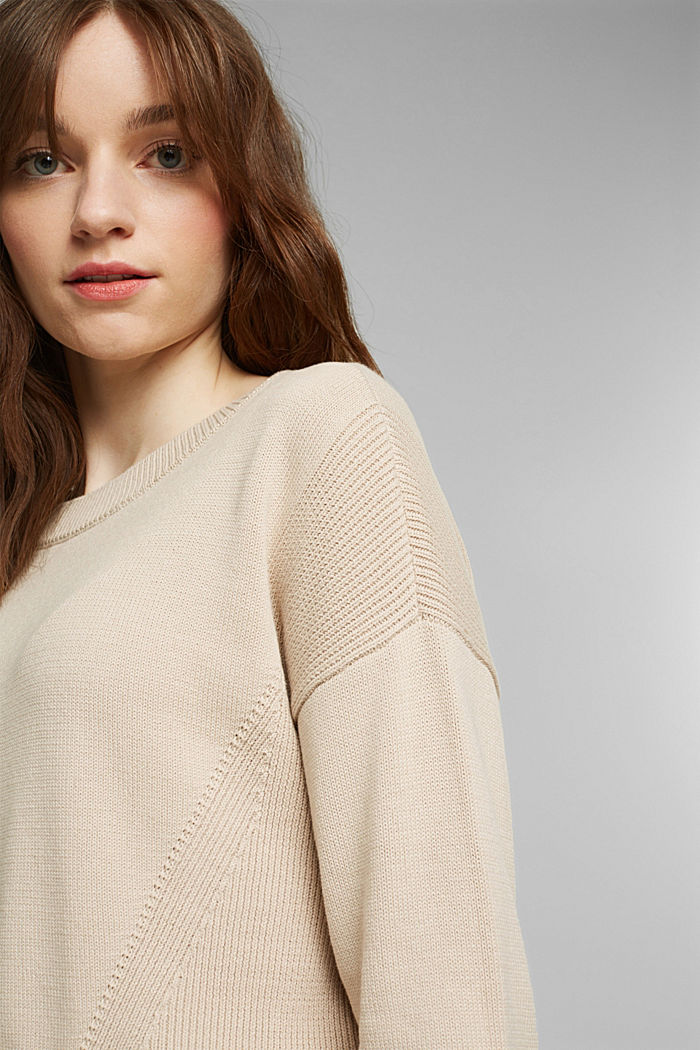 Layered jumper with organic cotton, BEIGE, detail image number 6
