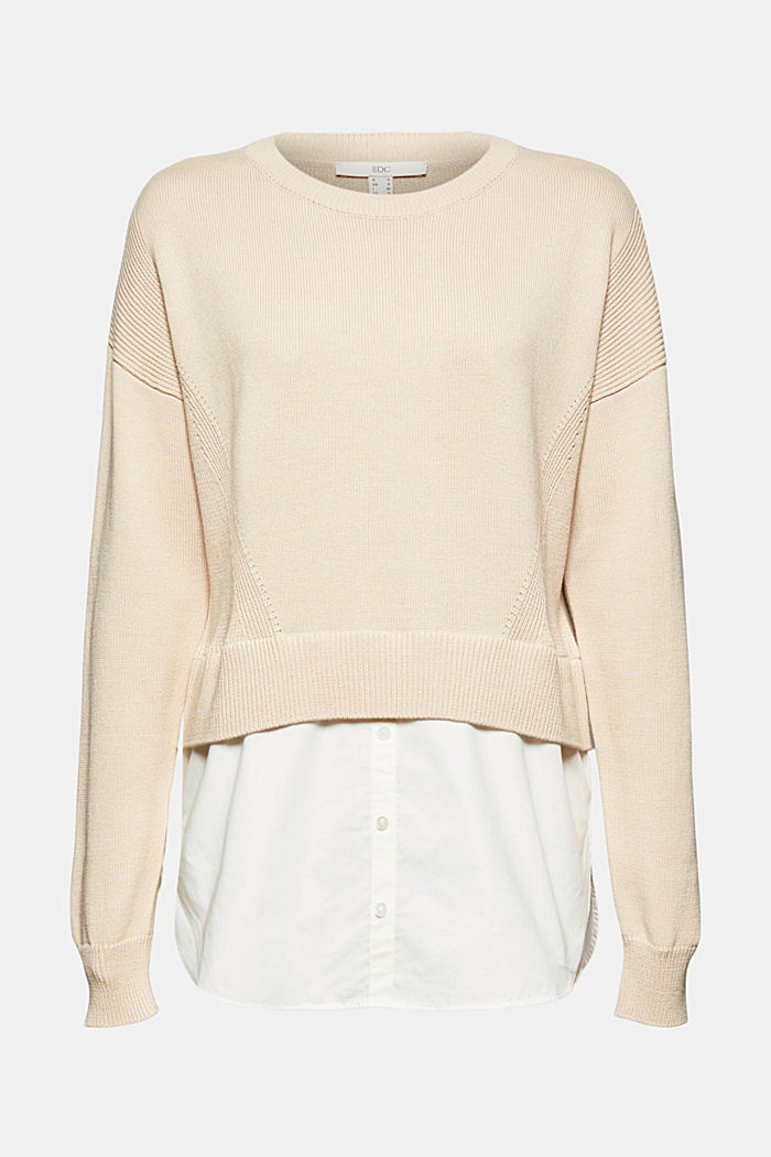 Layered jumper with organic cotton, BEIGE, overview