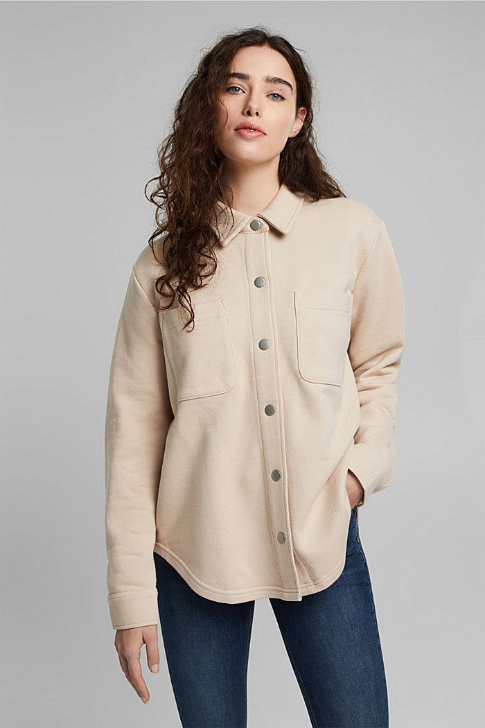 Textured overshirt, 100% organic cotton, BEIGE, detail image number 0