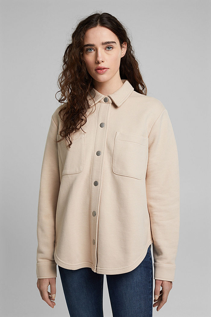 Textured overshirt, 100% organic cotton, BEIGE, detail image number 6