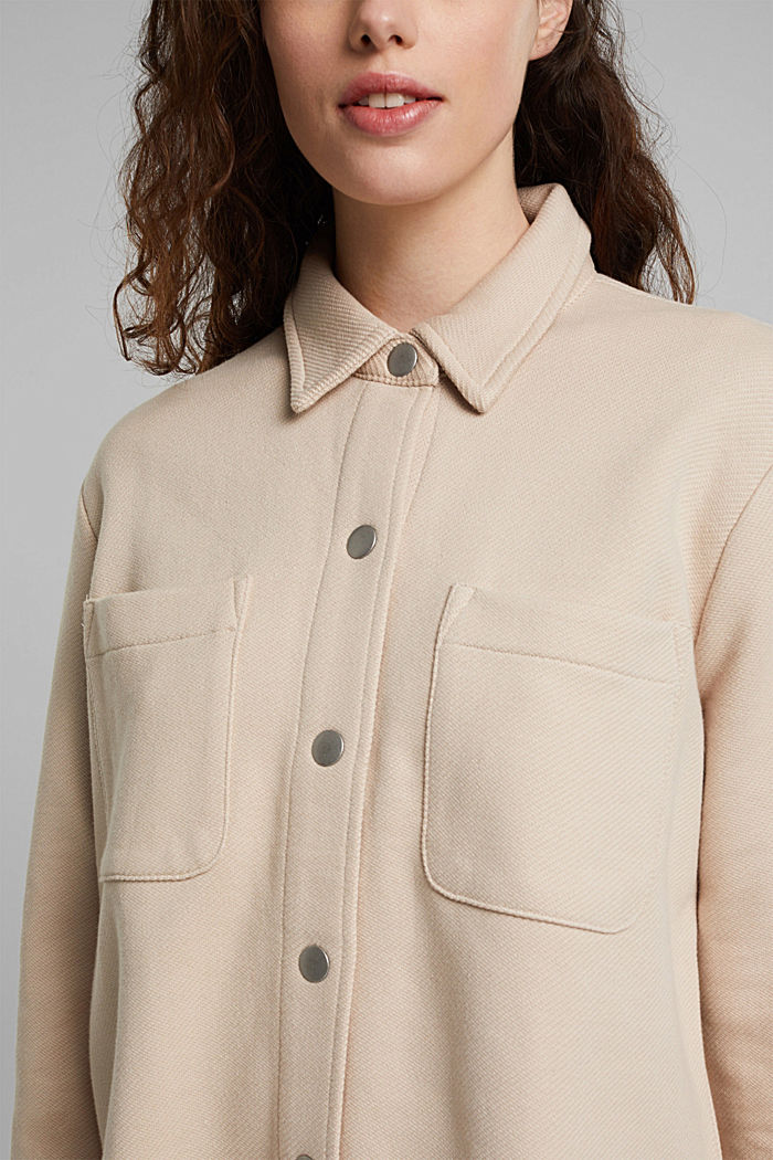 Textured overshirt, 100% organic cotton, BEIGE, detail image number 2