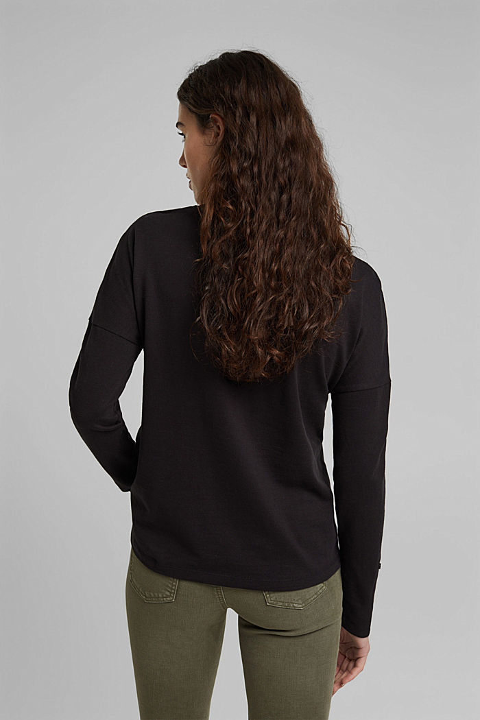 Longsleeve aus 100% Organic Cotton, BLACK, detail image number 3