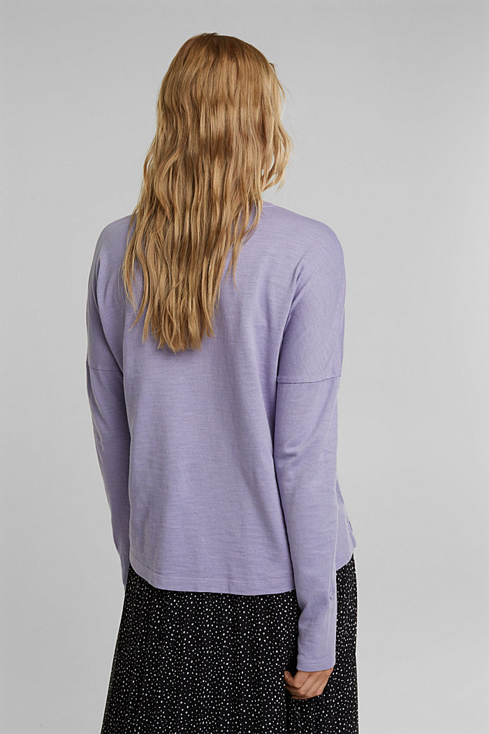 Long sleeve top made of 100% organic cotton, LILAC, detail image number 3