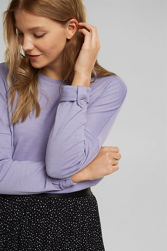Long sleeve top made of 100% organic cotton, LILAC, detail image number 6