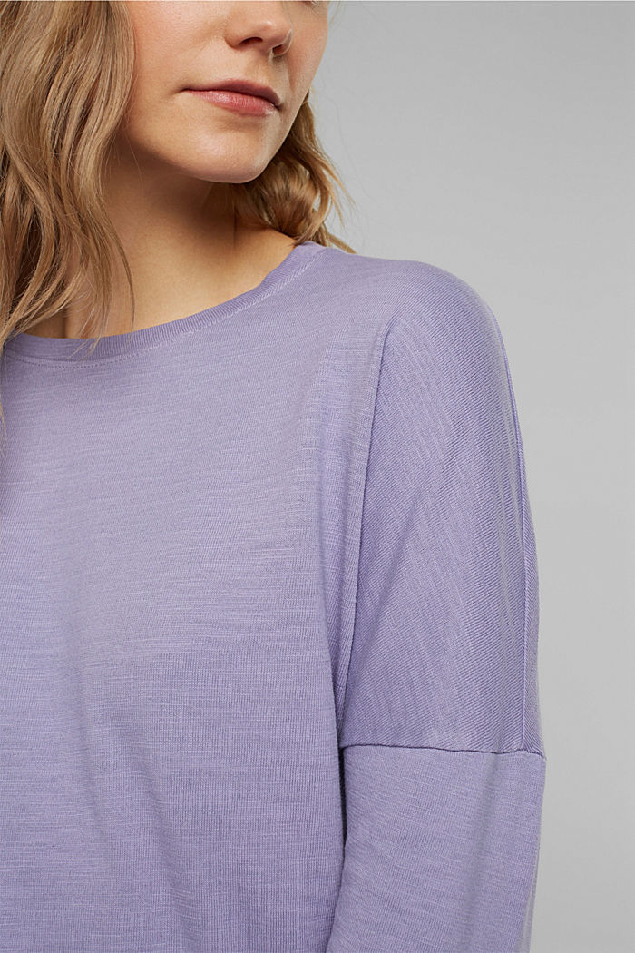 Long sleeve top made of 100% organic cotton, LILAC, detail image number 2