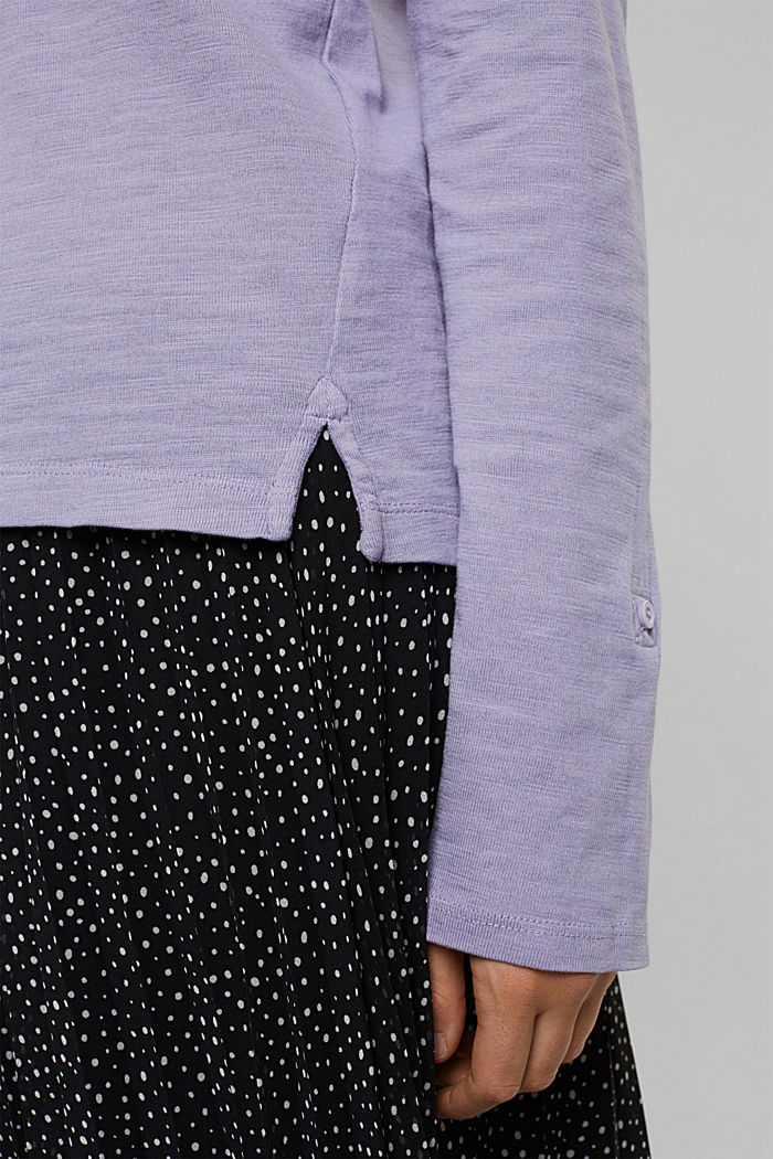 Long sleeve top made of 100% organic cotton, LILAC, detail image number 5