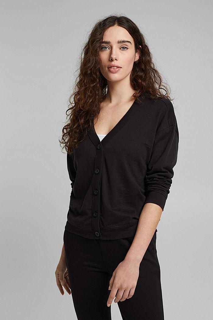 Jersey-Cardigan aus Organic Cotton, BLACK, detail image number 0