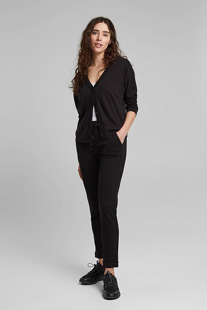 Jersey-Cardigan aus Organic Cotton, BLACK, detail image number 1