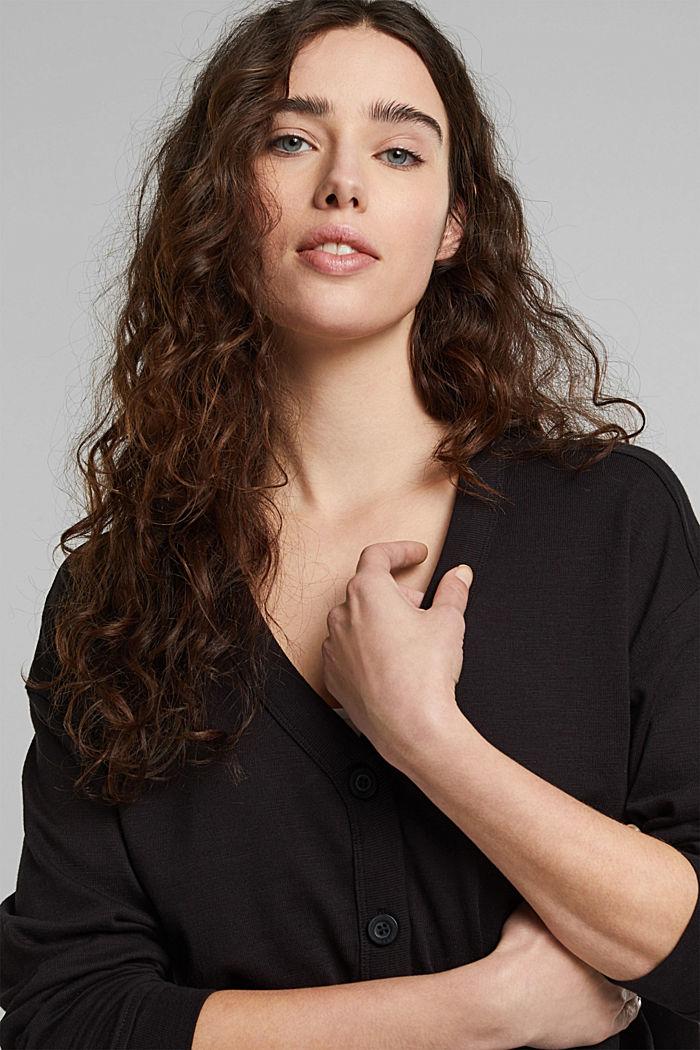 Jersey-Cardigan aus Organic Cotton, BLACK, detail image number 5