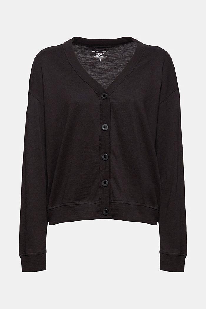 Jersey-Cardigan aus Organic Cotton, BLACK, detail image number 6