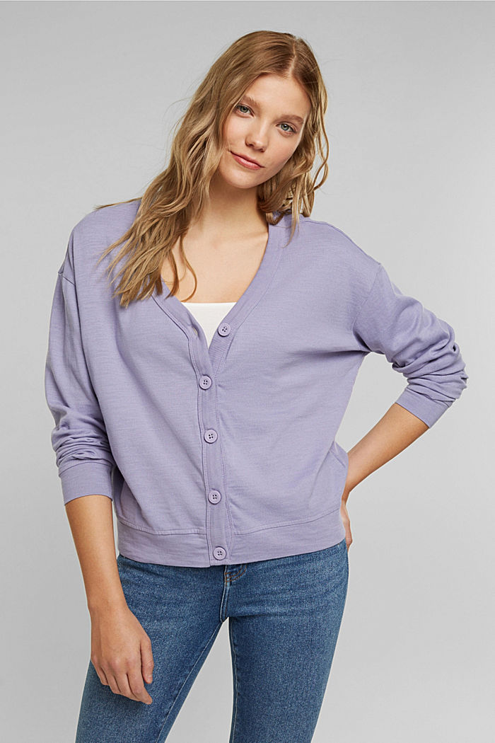 Jersey cardigan made of organic cotton, LILAC, detail image number 0