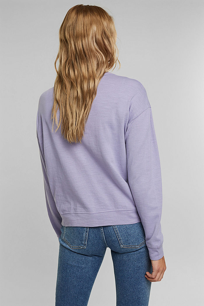 Jersey cardigan made of organic cotton, LILAC, detail image number 3