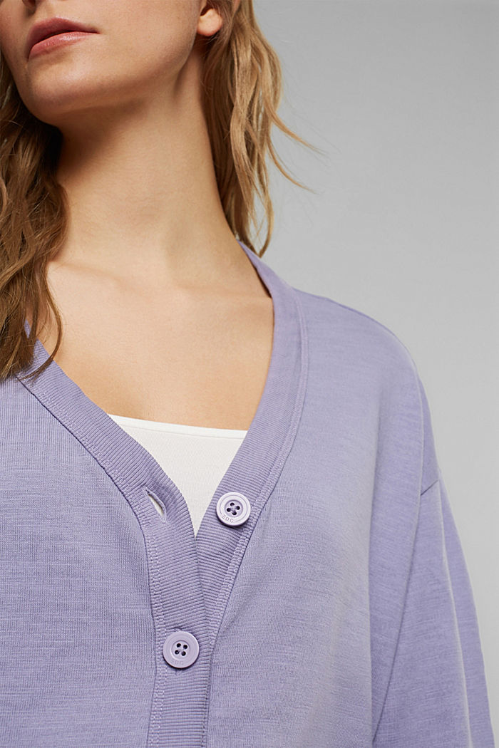 Jersey cardigan made of organic cotton, LILAC, detail image number 2