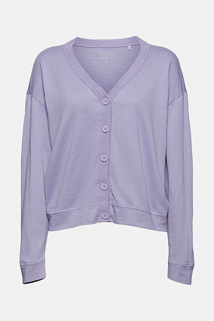 Jersey-Cardigan aus Organic Cotton, LILAC, overview