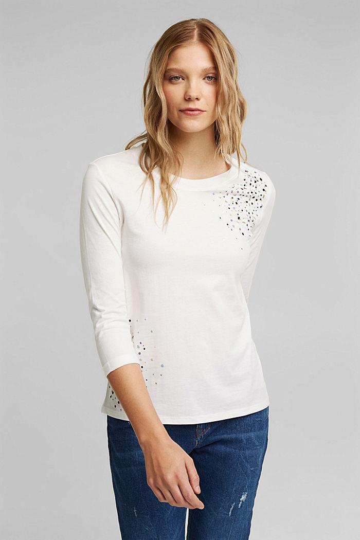 Longsleeve aus 100% Organic Cotton, OFF WHITE, detail image number 0