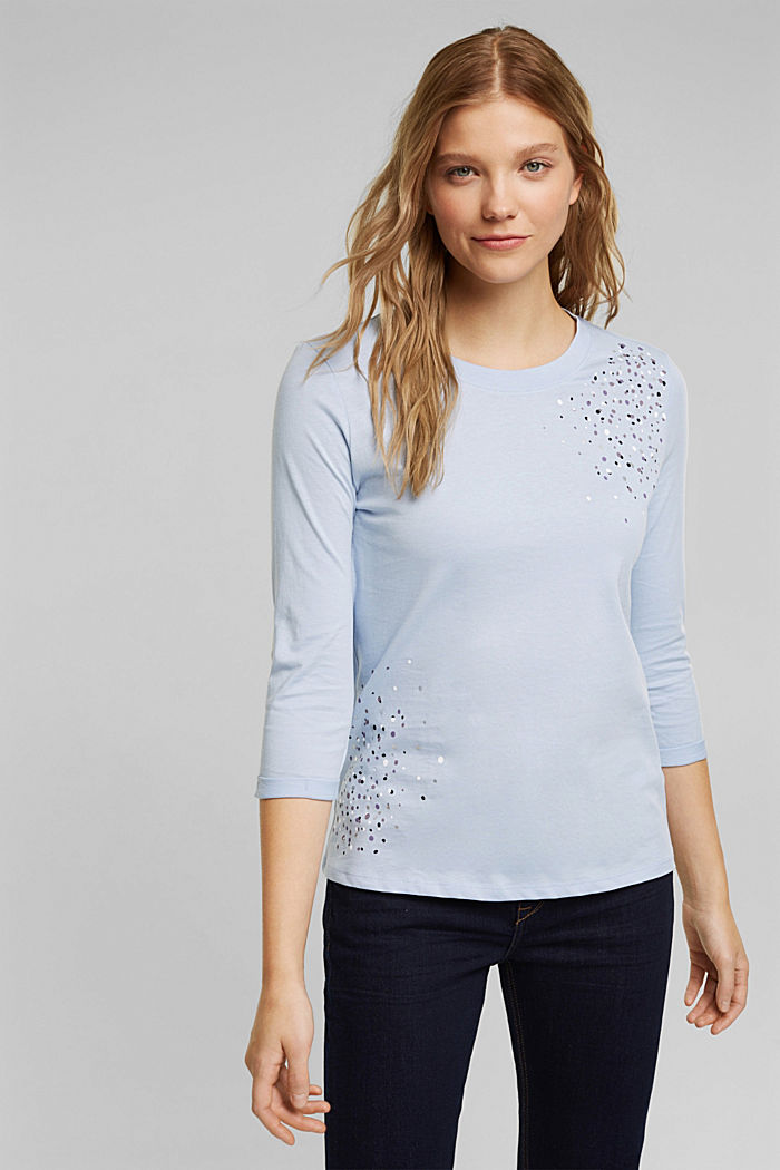 Long sleeve top made of 100% organic cotton, LIGHT BLUE LAVENDER, detail image number 0