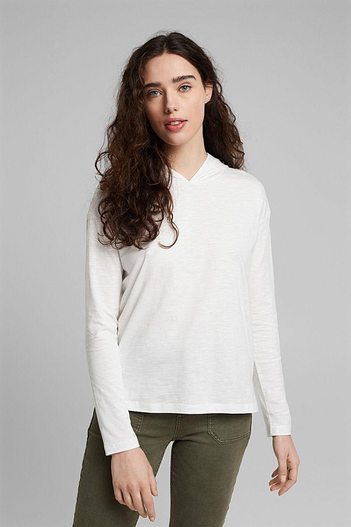 Melange jersey hoodie made of organic cotton, OFF WHITE, detail image number 0