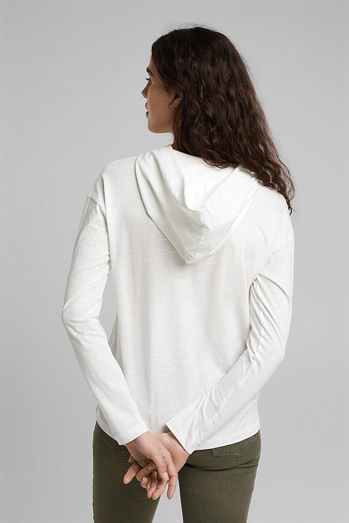 Melange jersey hoodie made of organic cotton, OFF WHITE, detail image number 3